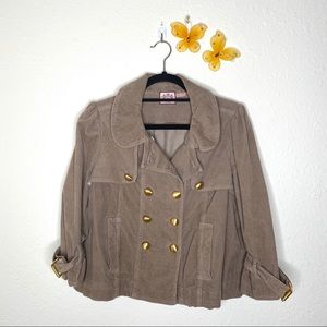 Juicy Couture Tan/Taupe Cropped Button Jacket